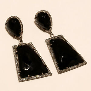 Mid Night Black Onyx Gems 925 Sterling Silver Earrings Wedding Cocktail Jewelry