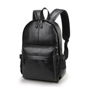 Faux Leather Backpack Bag For School College Simple Design Casual Man Backpack