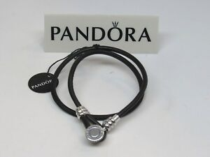 New Pandora Large Black Double Leather 16.1 In 41 CM Bracelet 597194CBK-D3