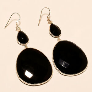 Mid Night Black Onyx 925 Sterling Silver Earrings Cocktail Fashion Show Jewelry