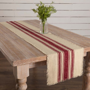Vintage Stripe 100% Cotton Table Runner Red or Green and Natural* $16.95