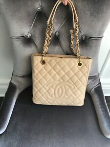 chanel petite shopping tote beige