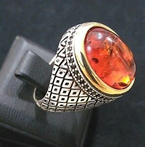 925 Sterling Silver Handmade Turkish Jewelry  Elegant Amber Stone Mens Rings