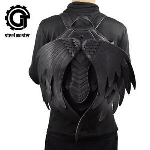 Punk Backpack with Angel Wings for Men Women Gothic Black Leather Devil Backpack