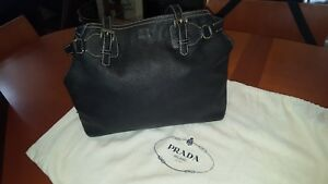 Authentic PRADA Black Pebbled Leather Daino Shoulder Bag Vitello Est Ret $1695