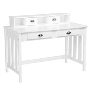 Wood Writing Desk Home Office Computer Desk with 4 Drawers White