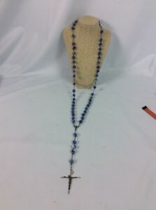 Stunning Vtg Afco Sterling Silver 925 Blue Lucite  beads  Rosary necklace