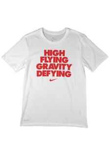 Nike Boys Dri Fit High Flying Gravity Defying Graphic Shirt White Red New $12.95