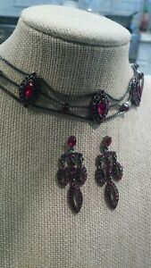 Beautiful Givenchy gunmetal  red crystal choker Necklace pierce earrings set