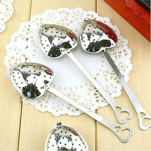 Stainless Steel Heart Shape Leaf Herb Tea Spoon Infuser Filter Strainer Spone US