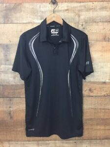 Russell Training Fit Dri Power Polo Mens Size Small Black Short Sleeve $10.99