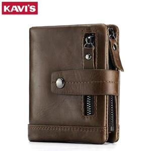 Men Leather Wallet  Small With Coin Purse Pocket Slim Fashion Mini Badge Wallet