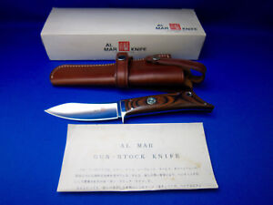 AL MAR VINTAGE GUNSTOCK FIXED BLADE KNIFE  Made In Japan UNUSED NEAR MINT COND.
