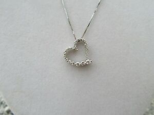 14K WG Graduated Diamond Floating Heart Pendant Necklace White Gold  GO33