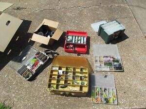 HUGE Lot of Fishing Gear Lures Tackle Boxes String Bobbers Lifetime Accumulation
