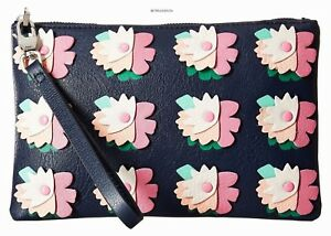 FOSSIL women's RFID WRISTLET Leather Top Zip Wallet Midnight Navy Floral nwt $80