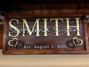 11quot; x 23quot; Antique Cherry Personalized Family Name Carved Wood Sign