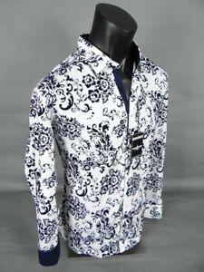 Mens BARABAS Designer Shirt White With Navy Flocked Floral Button Up CLASSIC FIT