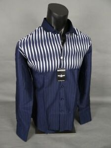 Mens BARABAS Designer Shirt Navy and White Wavey Stripes Button Up CLASSIC FIT