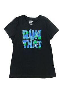 NEW Nike Girl's Sz Large Black Run That Graphic Active Tee Short Sleeve T-Shirt