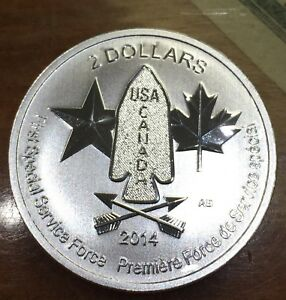 2014 Canada 1 2 oz Silver $2 Devil's Brigade First Special Services Force BU