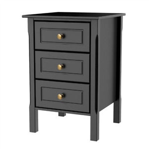 Set of 2 Nightstand Accent End Side Bedside Table Bedroom Living Room 3 Drawers