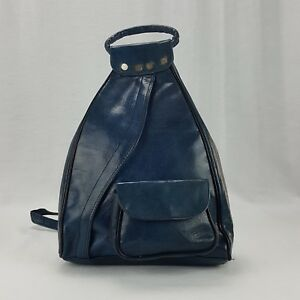 Handcrafted Leather Backpack Purse Dark Blue Large Guitare