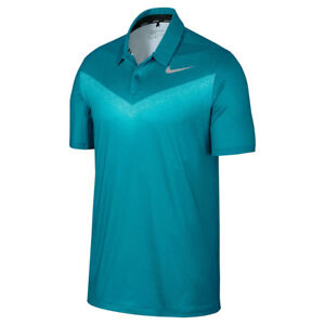 NEW NIKE DRY FIT CHEVRON PRINT GOLF POLO BLUSTERYIGLOOFLAT SILVER SMALL