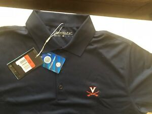NIKE FIT DRY Golf Polo Shirt UVA University Of Virginia Men's Size L Navy-NWT