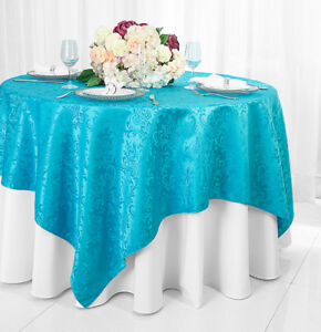 Wedding Linens Inc. 72quot; x 72quot; Square Damask Jacquard Polyester Table Overlays