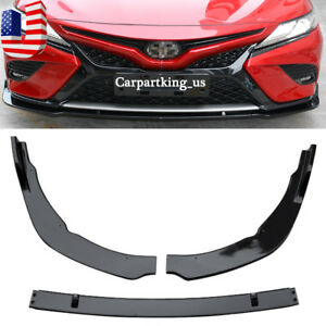 Front Bumper Lip Cover Trim For Toyota Camry 2018 19 SE/XSE ABS Gloss Black 3PCS