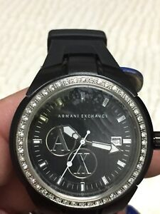 Armani Exchange AX5014 Black Watch w CZ accents