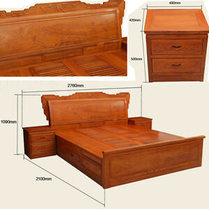Ming Dy Style rosewood solid wood furniture King Size Bed and Beside table #A15