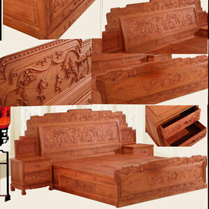 Ming Dy Style rosewood solid wood furniture King Size Bed and Beside table #A5