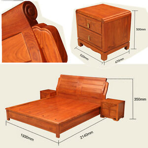 Ming Dy Style rosewood solid wood furniture King Size Bed and Beside table #A11