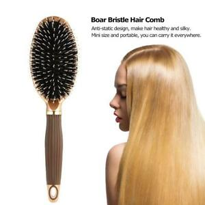 Wooden Hairbrush Boar Bristle Natural Massage Comb Beech Handle Hair Brush Tool