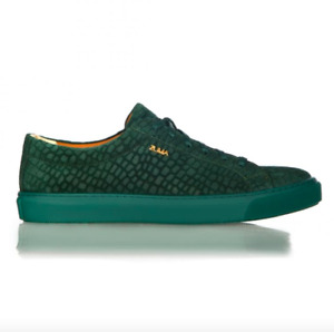 Zuma Shoes Men's - Green - Mini Crocodile Design - Real Calf Leather Sneakers