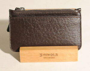 Shinola Detroit Deep Brown Premium Leather Coin Card Pouch Wallet $95 NEW! A2C