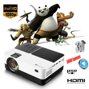 5000 Lumens Mini LED LCD Projector Full HD 1080P Home Theater For TV Box Laptop