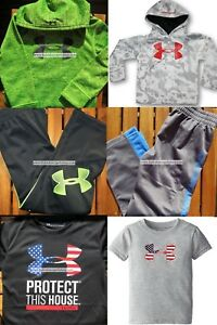 UNDER ARMOUR BOYS  Size 4 TRACK PANTS ~ Size 5 HOODIES ~ BLACK GREEN ~ NWT