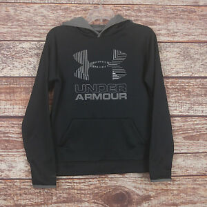Under Armour Black Gray Print Storm Loose Fit Cold Gear Hoodie Sz Youth L VGUC