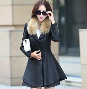 Women Leather Coat Belt Buckle Slim Large Size Fur Suit Collar Lady Jacket Zsell