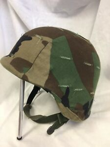 US Military Army UNICOR PASGT Helmet Woodland Camo Cover & chin strap S-2