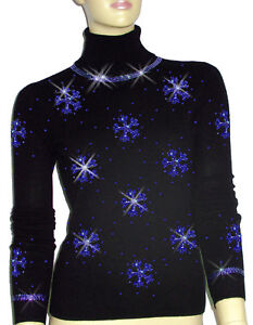 Luxe Oh` Dor 100% Cashmere Sweater Luxury Snowflakes Black Sapphire 3436 S