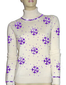 Luxe Oh` Dor 100% Cashmere Sweater Luxury Snowflakes Pearl White Purple 3436 Xs