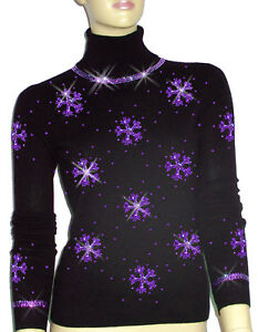 Luxe Oh` Dor 100% Cashmere Sweater Luxury Snowflakes Black LILA 3436 S