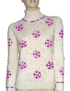 Luxe Oh` Dor 100% Cashmere Sweater Luxury Snowflakes Pearl White Pink 3840 SM