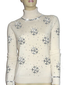 Luxe Oh` Dor 100% Cashmere Sweater Luxury Snowflakes Pearl White Silver