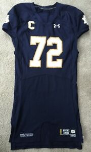 2014 #72 NOTRE DAME FOOTBALL GAME USED UNDER ARMOUR HOME JERSEY NICK MARTIN