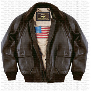 Men's Navy G1 Genuine Leather Flight Bomber Jacket REAL FUR Insulated Linned